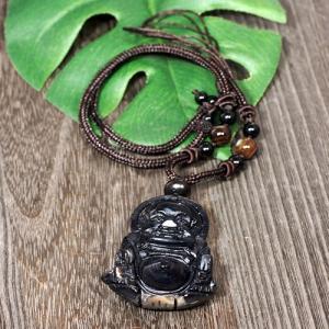 一点物 チベット天眼石 布袋様(ほてい) オニキス 黒檀 ネックレス 長さ調整可能|天然石|パワーストーン|チベット密教|法具|一点物|rapanui