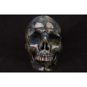 一点物 ラブラドライト ヒューマン スカル(骸骨) カービング(彫刻) 置物 2946g|クリスタルスカル|rapanui