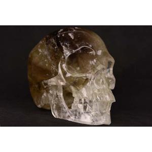 一点物 水晶&シトリン&スモーキークォーツ ヒューマン スカル(骸骨) カービング(彫刻) 置物 2965g|クリスタルスカル|rapanui