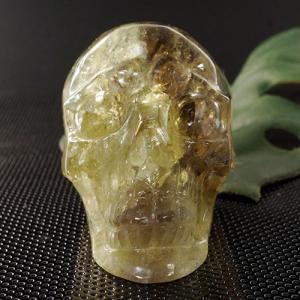 一点物 ヒューマン スカル(骸骨)シトリン カービング(彫刻) 置物 258g|クリスタルスカル|rapanui