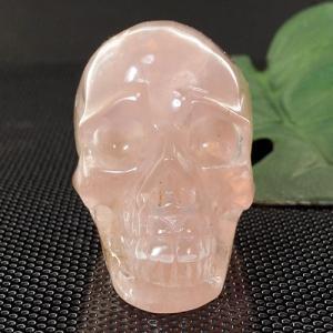 一点物 ローズクォーツ ヒューマン スカル(骸骨) カービング(彫刻) 置物 174g|クリスタルスカル|rapanui