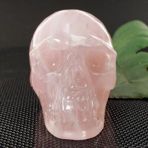 一点物 ローズクォーツ ヒューマン スカル(骸骨) カービング(彫刻) 置物 327g|クリスタルスカル|rapanui