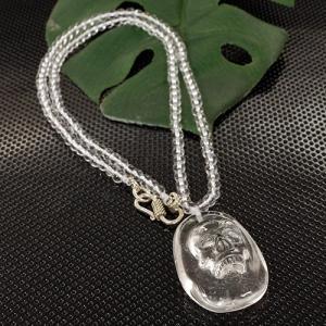 一点物 天然水晶AAAAAグレード クリスタルスカル(骸骨)カービング(彫刻) ネックレス|ヒューマンスカル|人間ガイコツ|マヤ|アステカ|彫刻|rapanui