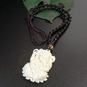一点物 インド神 ガネーシャ 彫刻 ヤクの骨 ブラックオニキス ネックレス 長さ調節可能 カービング 手彫り rapanui