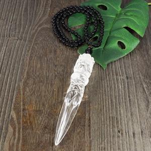 一点物 ヒマラヤ水晶 金剛杭(プルパ) オニキス ネックレス 長さ調整可能|クル渓谷|天然石|パワーストーン|チベット密教|法具|rapanui