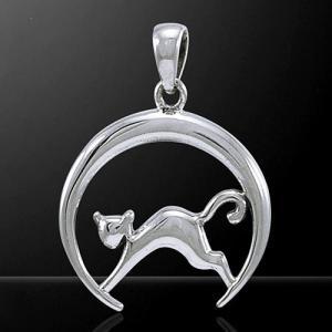 PETER STONE 月猫 クレセントムーン・キャット(ネコ) 三日月 シルバー ペンダントトップ|幸運の猫|シルバー925 メール便対応可|rapanui
