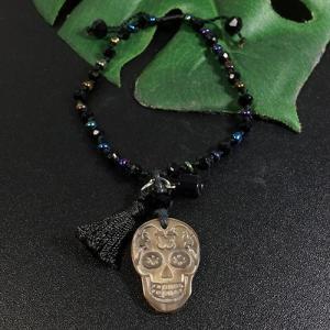 メキシコ シュガースカル(ドクロ)シェル(虹光沢あり) 彫刻 ブレスレット サイズ調整可能|メキシカンスカル|カラベラ|死者の日 メール便対応可|rapanui
