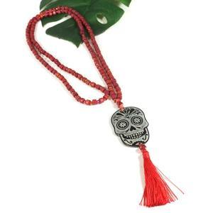 メキシコ シュガースカル(ドクロ)シェル 彫刻 ネックレス レッド(赤) 70cm|メキシカンスカル|カラベラ|死者の日 メール便対応可|rapanui