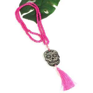 メキシコ シュガースカル(ドクロ)シェル 彫刻 ネックレス ピンク 70cm|メキシカンスカル|カラベラ|死者の日 メール便対応可|rapanui