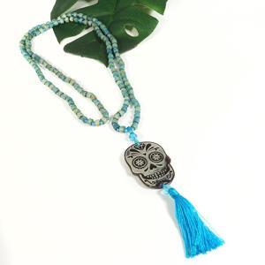 メキシコ シュガースカル(ドクロ)シェル 彫刻 ネックレス ライトブルー(水色) 70cm|メキシカンスカル|カラベラ|死者の日 メール便対応可|rapanui