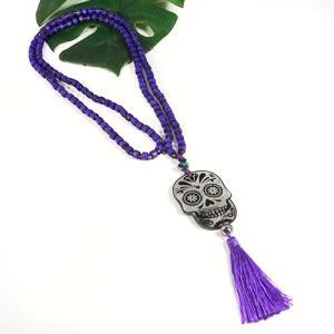 メキシコ シュガースカル(ドクロ)シェル 彫刻 ネックレス パープル(紫) 70cm|メキシカンスカル|カラベラ|死者の日 メール便対応可|rapanui