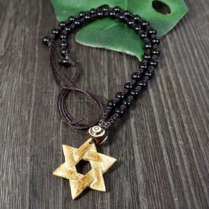一点物 六芒星(ダビデの星) マンモス牙 彫刻 ヤク骨ビーズ ブラックオニキス ネックレス 長さ調整可能 化石 rapanui