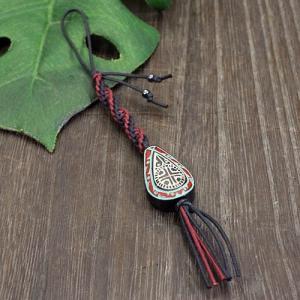 アイヌ紋様 エリマキ 彫刻 ロウ引き紐(赤) 携帯ストラップ ウッドカービング カムイ 神威 北海道 手彫り 和柄 メール便対応可 rapanui