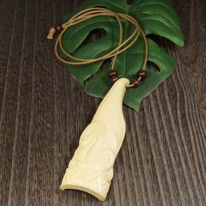 一点物 アイヌ伝統紋様 モレウ エリマキの木 彫刻 ペンダント ネックレス 平間覚 HIRA ウッドカービング カムイ 神威 北海道 手彫り rapanui