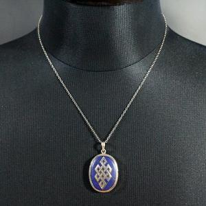 一点物 チベット密教 エンドレスノット ラピスラズリ シルバー925 ペンダントトップ|八吉祥(八つの幸運のシンボル)|シルバー925|rapanui|04