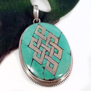 一点物 チベット密教 エンドレスノット ターコイズ シルバー925 ペンダントトップ 大|八吉祥(八つの幸運のシンボル)|シルバー925|rapanui