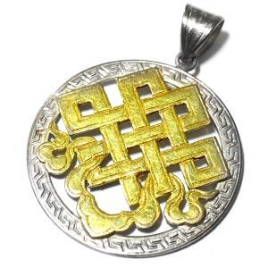 チベット密教 エンドレスノット 24金ゴールドコーティング シルバー925 ペンダントトップ|八吉祥(八つの幸運のシンボル)|シルバー925|rapanui