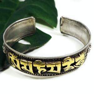 一点物 チベット密教 オムマニペメフム 24金ゴールドコーティング)バジュラ スターリングシルバー バングル ブレスレット|マントラ オム(OM)|rapanui