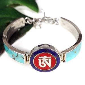 一点物 チベット密教 観音菩薩真言 オムマニペメフム ターコイズ シルバー925 ブレスレット|OM|マントラ|rapanui
