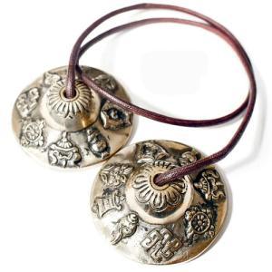 チベット密教 ティンシャ(チベタンシンバル) 八吉祥(八つの幸運のシンボル) 7メタル|チベット密教|楽器|瞑想|手作り メール便対応可|rapanui