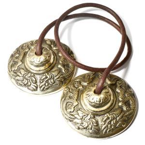 チベット密教 ティンシャ(チベタンシンバル) 龍(ドラゴン) 7メタル|チベット密教|楽器|瞑想|手作り メール便対応可|rapanui