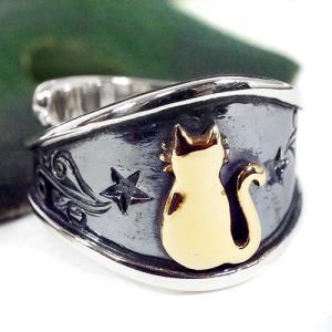 【goodvibrations】月猫 クレセントムーンキャット シルバー リング(指輪)サイズ調整可能【メール便対応可】 rapanui