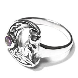【PETER STONE】月猫 クレセントムーン・キャット(ネコ) 三日月 アメジスト セルティック模様 シルバー リング(指輪)【メール便対応可】|rapanui