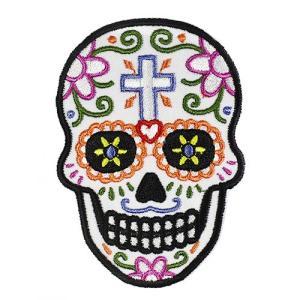 メキシコ シュガースカル(ドクロ)刺繍アイロンワッペン・アップリケ|メキシカンスカル|カラベラ|死者の日【メール便対応可】|rapanui