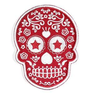 メキシコ シュガースカル(ドクロ)刺繍アイロンワッペン・アップリケ レッド(赤)|メキシカンスカル|カラベラ|死者の日【メール便対応可】|rapanui