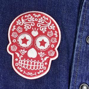 メキシコ シュガースカル(ドクロ)刺繍アイロンワッペン・アップリケ レッド(赤)|メキシカンスカル|カラベラ|死者の日【メール便対応可】|rapanui|03