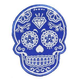 メキシコ シュガースカル(ドクロ)刺繍アイロンワッペン・アップリケ ブルー(青)|メキシカンスカル|カラベラ|死者の日【メール便対応可】|rapanui