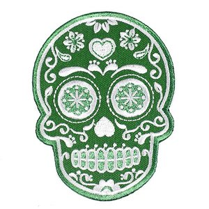 メキシコ シュガースカル(ドクロ)刺繍アイロンワッペン・アップリケ グリーン(緑)|メキシカンスカル|カラベラ|死者の日【メール便対応可】|rapanui