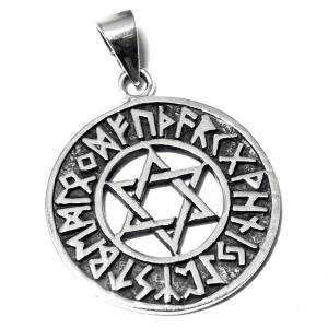 六芒星(ダビデの星) ルーン文字 スターリングシルバー ペンダントトップ rapanui