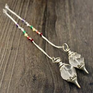 ヒマラヤ水晶 カット セブンチャクラ(カットストーン) ペンデュラム (1個)|rapanui