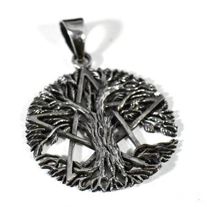 五芒星(ペンタグラム) 生命の樹(ツリーオブライフ) スターリングシルバー ペンダントトップ|rapanui