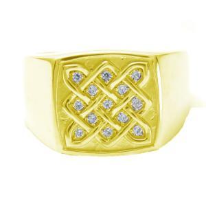 メンズ指輪 ダイヤモンドリング K18 印台 メンズリング...
