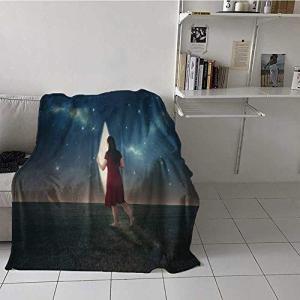 painting-home Custom Blanket Barefoot Woman Lookin...