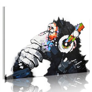 絵画 チンパンジー 白黒 動物キャンバス絵画 ファブリックパネル 壁飾り 絵 アートパネル モノトーン油絵 ポスター 横75cm×縦50cm Airbnb 民泊の画像