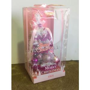 卓上クリスマスツリー ホワイト&ラメピンク rare-mori