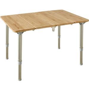 KingCamp アウトドアテーブル 高さ調整可能 キャンプ テーブル 4折り ロールテーブル 竹製...