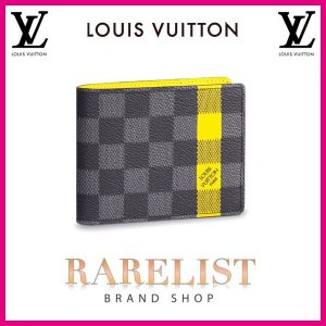 quality design 10beb e1c16 ルイヴィトン LOUIS VUITTON 財布 小財布 2つ折り 二つ折り 新作 限定 ダミエグラフィット ブラック グレー イエロー グラフィット  プリント