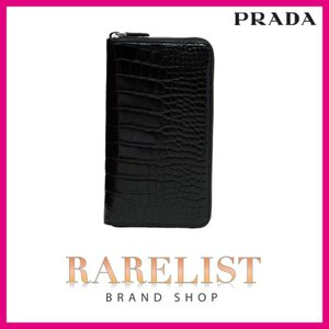 プラダ PRADA 財布 長財布 ラウンドファスナー トラベルウォレット ブラック クロコダイル ワニ革 レザー
