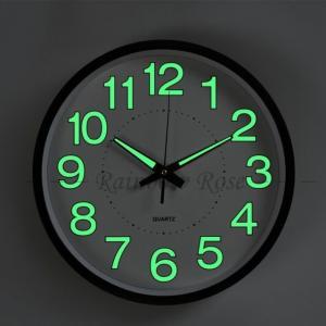 壁掛け時計 掛け時計 夜光 静音 デジタル おしゃれ ウォールクロック 見やすい 夜光る 夜でも見える 静か 蓄光塗料 PVC 非電波 30CM|raro
