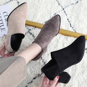 ブーツ ショート ブーティ ブーティー レディース シューズ おしゃれ 秋 冬 黒 ブラック 太ヒール チャンキー 靴 (bo-614)