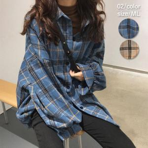 チェックシャツ レディース 韓国 カジュアル 大きいサイズ 長袖 おしゃれ ロング^v126^|raspberryy