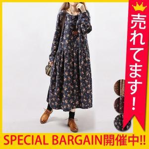 ワンピース レディース 体型カバー ロング 長袖 大きいサイズ 花柄 レトロ (w382) natural_yfashion SALE