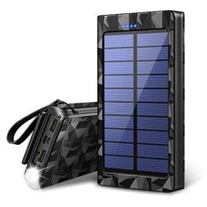 【最新版&LEDライト付き】 モバイルバッテリー ソーラー 24000mAh ソーラーチャージャー ...