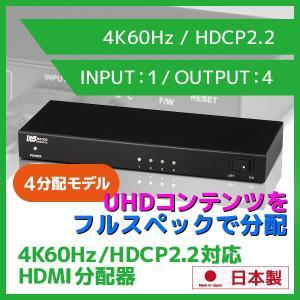4K対応 60Hz対応 HDR HDMIスプリッター REX-HDSP4-4K 4K60Hz 4:4:4、HDCP2.2対応映像を4分配し出力可能 国内開発・生産の日本製HDMI分配器 ratoc