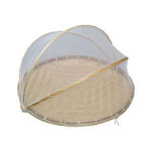 竹製のネット付き干しザルです。 身竹材料あじろ編み、Lサイズ。フタ可動式で、食べ物をほこり、虫を防ぎ...