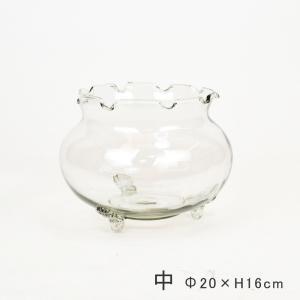 フリル金魚鉢 中 ガラス製 きんぎょ鉢 メダカ鉢 水槽 アクアリウム